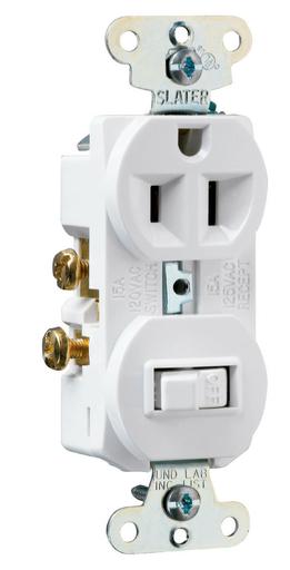 Mayer-15A, 120/125V Combination Single-Pole Switch & Single Receptacle, White-1