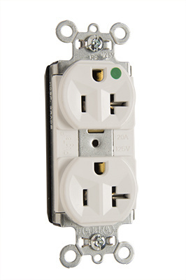 Mayer-PlugTail® Heavy-Duty Compact Design Hospital-Grade Duplex Receptacle, White-1