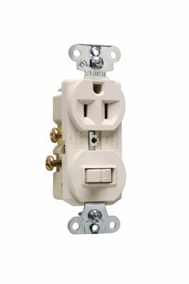 Mayer-15A, 120/125V Combination Single-Pole Switch & Single Receptacle, Light Almond-1