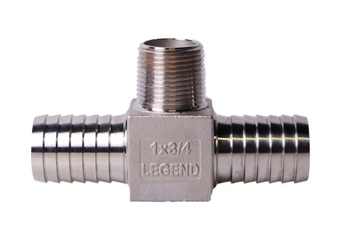 "1-1/4"" x 1"" .304 Stainless Steel Hydrant Insert x MNPT Tee"