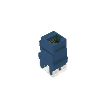 On-Q WP3450-BE 1-Port RJ45 Category 5E Blue Plastic Snap-In Keystone Connector
