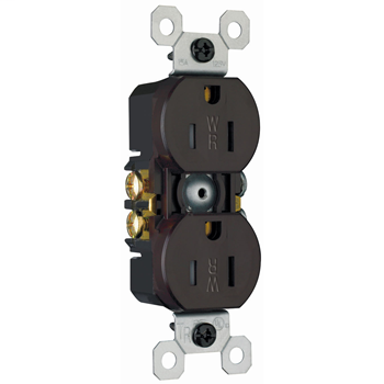 15A/125V Weather-Resistant Duplex Receptacle, Brown