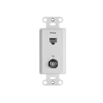 On-Q WP3211-WH 2-Port White RJ45 Phone/Television Pre-Configured Strap