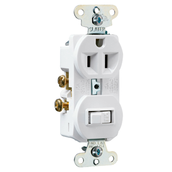 15A, 120/125V Combination Single-Pole Switch & Single Receptacle, White