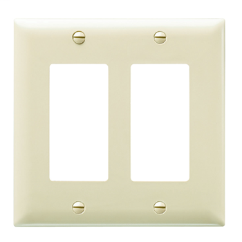 Wattstopper TP262-I 2-Gang 2-Decorator Ivory Nylon Standard Unbreakable Wallplate