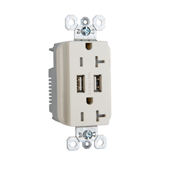 Fed Spec Grade USB Charger w/ Tamper-Resistant 20A Duplex Receptacles, Light Almond