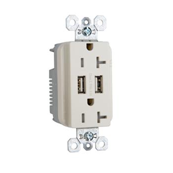 PASS TR-5362USBLA DUP REC 20A TR SPEC W/3.1A USB CHRG LA