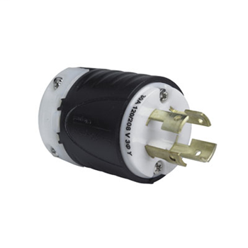 30 Amp Non-NEMA Plug - Black Back, White Front Body