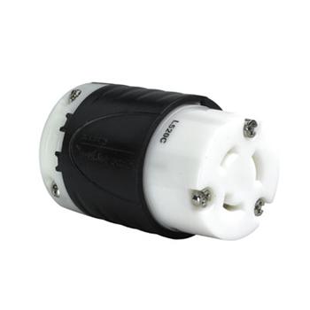 20 Amp NEMA Connector L520 - Black Back, White Front Body