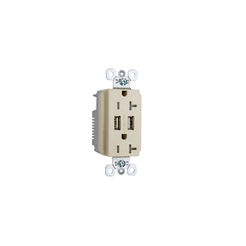 Fed Spec Grade USB Charger w/ Tamper-Resistant 20A Duplex Receptacles, Ivory