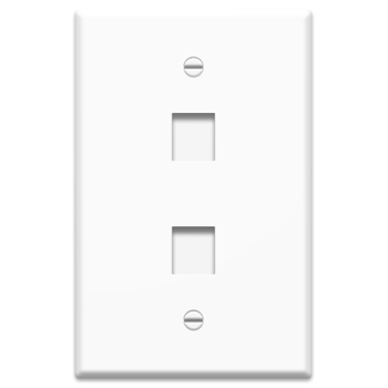 1-Gang, 2-Port Oversized Wall Plate, White