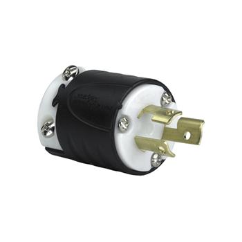 15 Amp NEMA L715 Plug - Black Back, White Front Body