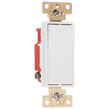 Pass & Seymour 2623-W Three-Way, Back And Side Wire, Decorator Switch, 20 Amps, 120/277 Volts, White.