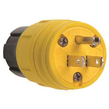 15A, 125V Watertight Straight Blade Plug, Yellow