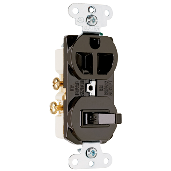 15A, 120/125V Combination Single-Pole Switch & Single Receptacle, Brown