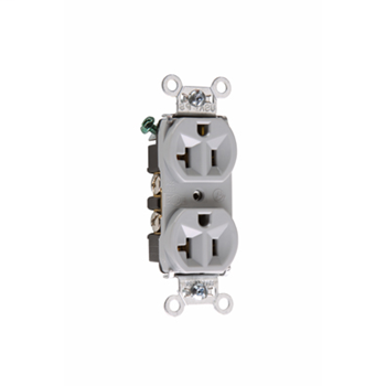 Hard Use Spec Grade Receptacle, Back & Side Wire, 20A, 125V, Gray
