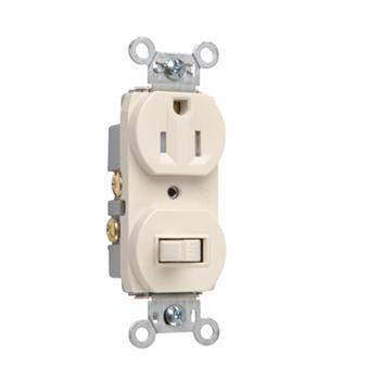 15A, 120/125V Combination Single-Pole Switch & Tamper-Resistant Single Receptacle, Light Almond