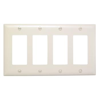 Wattstopper TP264-LA 4-Gang 4-Decorator Light Almond Nylon Standard Unbreakable Wallplate