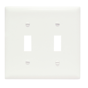 Toggle Switch Openings, Two Gang, White