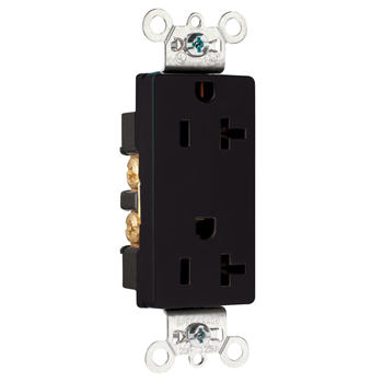 Pass & Seymour 26352-BK 20 Amp 125 VAC 2-Pole 3-Wire NEMA 5-20R Black Nylon Face Heavy Duty Duplex Decorator Receptacle