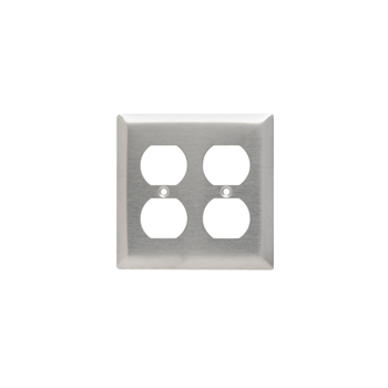 Pass & Seymour SS82 2-Gang 2-Duplex Receptacle Smooth Brushed Stainless Steel Standard Wallplate