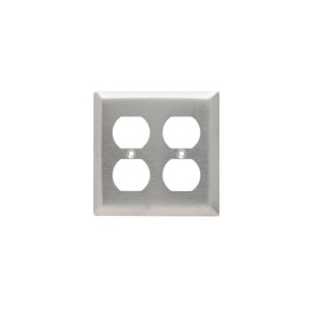 Pass & Seymour SS82 2Gang Wall Plate, Duplex, Standard - 302/304 Stainless Steel