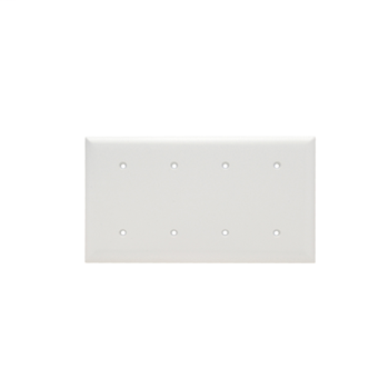 Pass & Seymour,SP44-W,SMOOTH WALL PLATE 4G BLNK STRAP MT W