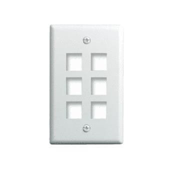 1-Gang, 6-Port Wall Plate, White