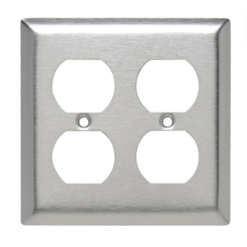 Pass & Seymour SL82 2-Gang 2-Duplex Receptacle Black Smooth 430 Stainless Steel Standard Wallplate