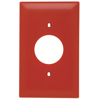 Pass & Seymour TP7-RED 1-Gang 1-Single Receptacle Red Nylon Standard Unbreakable Wallplate