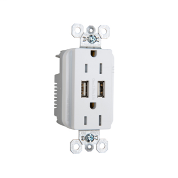 PASS TR-5262USBW DUP REC 15A TR SPEC W/3.1A USB CHRG