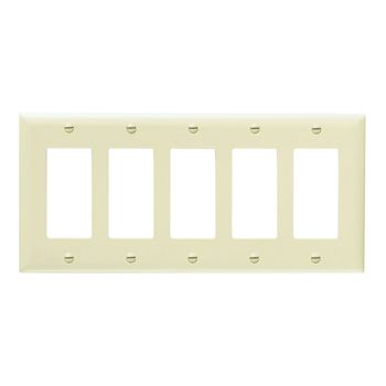 Pass & Seymour TP265-W 5-Gang 5-Decorator White Nylon Standard Unbreakable Wallplate