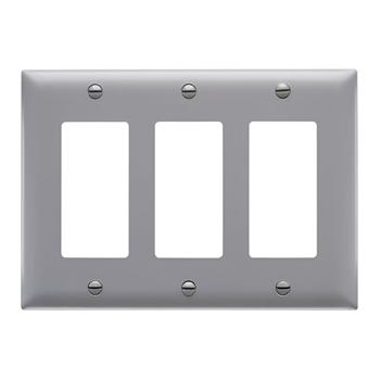 Wattstopper TP263-GRY 3-Gang 3-Decorator Gray Nylon Standard Unbreakable Wallplate