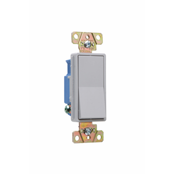 Pass & Seymour 2601-GRY 15 Amp 120/277 VAC 1-Pole Gray Polycarbonate Screw Mounting Rocker Decorator Switch