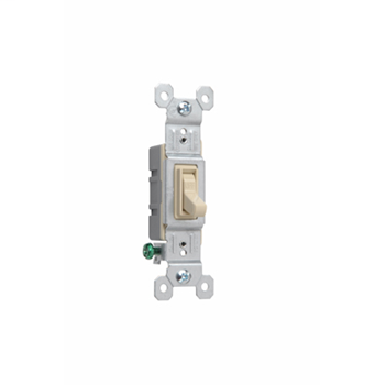 Single Pole Switch in ivory, withgrounded terminals, is made of a thermoplastic toggle and frame. It has a smooth, quiet toggle action. It is made with high-impact resistant construction. 15 amps, 120 volts. Available in bulk packs of 120. Add U to end of Catalog Number. Example: 660IGU