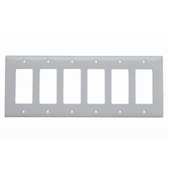 Pass & Seymour TP266-W 6-Gang 6-Decorator White Nylon Standard Unbreakable Wallplate