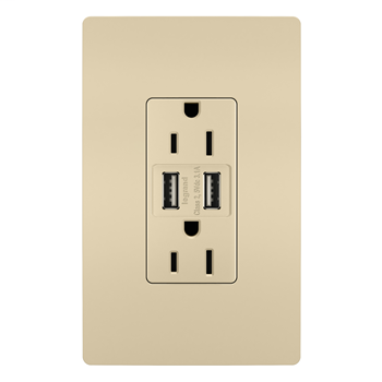 USB Chargers with Duplex 15A Tamper-Resistant Outlets, Ivory