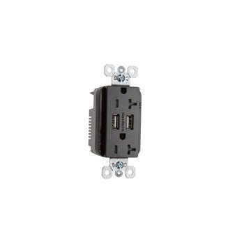 Fed Spec Grade USB Charger w/ Tamper-Resistant 20A Duplex Receptacles, Black
