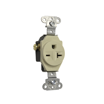 Heavy-Duty Spec Grade Single Receptacle, Side Wire, 20A, 250V, Ivory