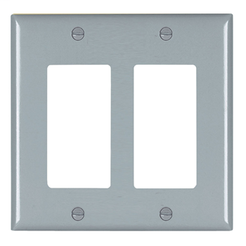 Wattstopper TP262-GRY 2-Gang 2-Decorator Gray Nylon Standard Unbreakable Wallplate