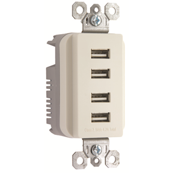 Quad USB Charger, Light Almond