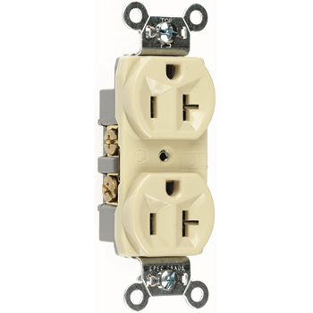 Commercial Spec Grade Receptacle, Side Wire, 20A, 125V, Ivory