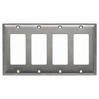 Pass & Seymour SS264 4Gang Wall Plate, Decorator, Standard - 302/304 Stainless Steel