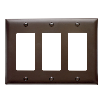 Wattstopper TP263 3-Gang 3-Decorator Brown Nylon Standard Unbreakable Wallplate