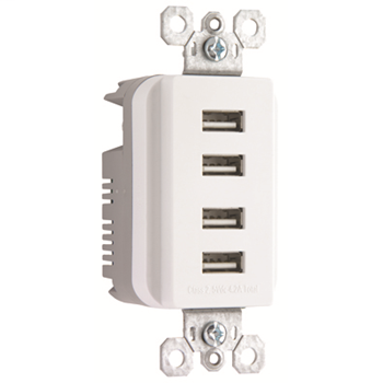 Quad USB Charger, White