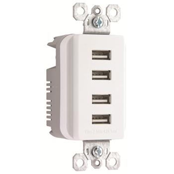 PAS TM8USB4-WCC6 COMBO QUAD USB CHARGER RCPT