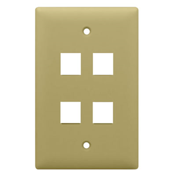 1-Gang, 4-Port Wall Plate, Ivory