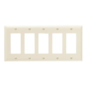 Pass & Seymour TP265-LA 5-Gang 5-Decorator Light Almond Nylon Standard Unbreakable Wallplate
