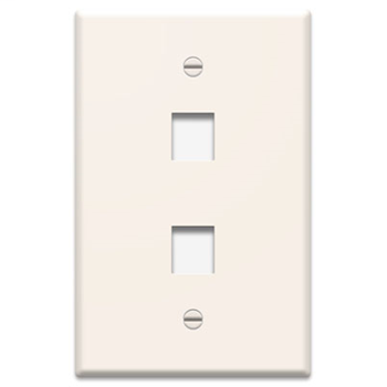 1-Gang, 2-Port Wall Plate, Light Almond