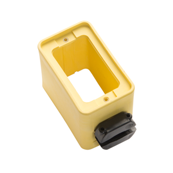 1-Clamp, Standard Depth Rubber Portable Outlet Box, Yellow